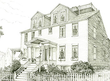 etching of front of Martin House Inn